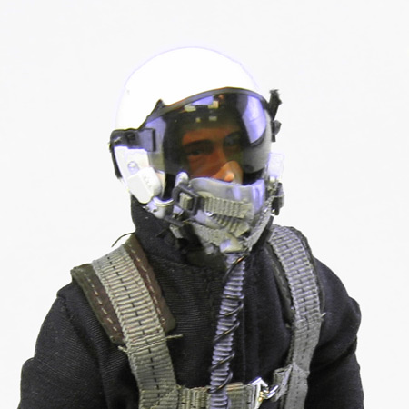 """10"""" Tall Modern Jet Pilot - Black/White Helmet"""