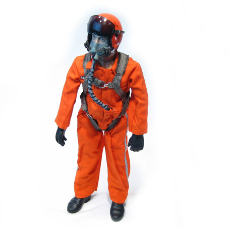 "12"" Custom Orange RC Jet Pilot Figure Servo Operated Head-0"