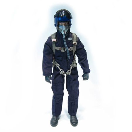 "12"" Custom Blue RC Jet Pilot Figure Servo Operated Head-0"