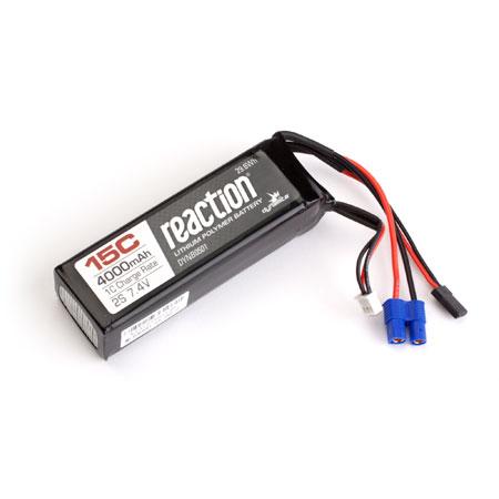Reaction 7.4V 4000mAh 15C 2S LiPo Receiver Pack: DBXL-0
