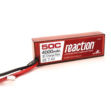 Reaction 7.4V 4000mAh 50C 2S LiPo, Hardcase: EC3-0