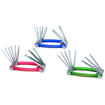 3 Pc SAE/Metric/Torx Folding Ball End Hex Key Set-0